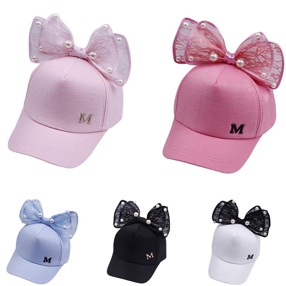 Cocila Kids Girls Eaves Baseball Cap Summer Soft Cute Children Pearl Bowknot Bongrace Peak Streak Sun Hat