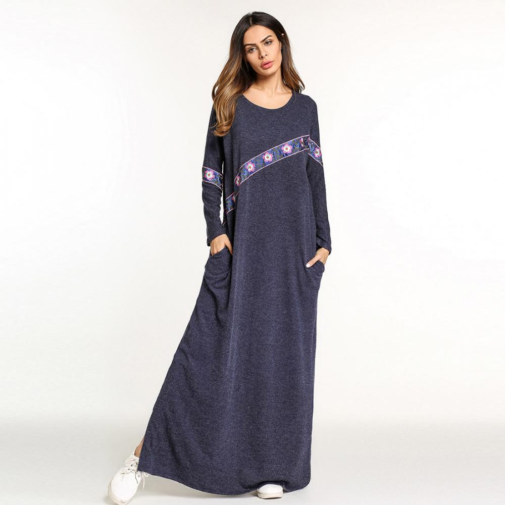 Pijamas de la mujer suelta floral algodón O cuello Color bloque ...