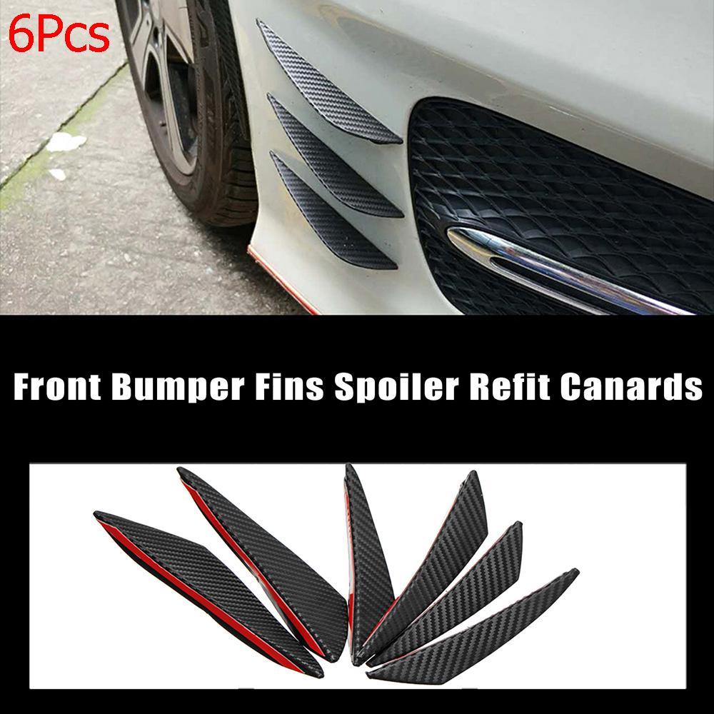 6x Fiber Black Car Front Bumper Lip Splitter Fins Trim Spoiler Canard Universal
