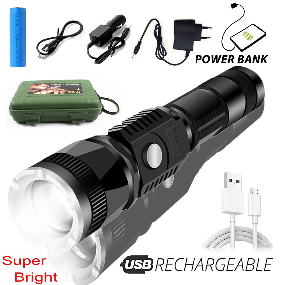 Bright Pocket USB Rechargeable XPE Tactical Military LED Flashlight Torch Lamp