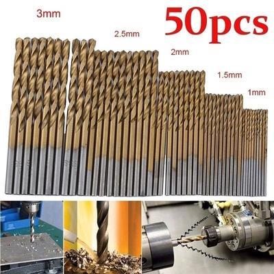 50PCS Twist Drill Bits HSS High Steel Titanium Saw Drilling Bits Kits Wood Metal