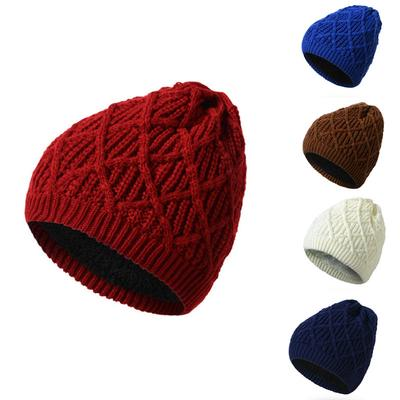 Women s Winter Warm Wool Knit Hat Wild Hat Men s Warm Thick Casual Plus  Velvet ... 33e10f17a289