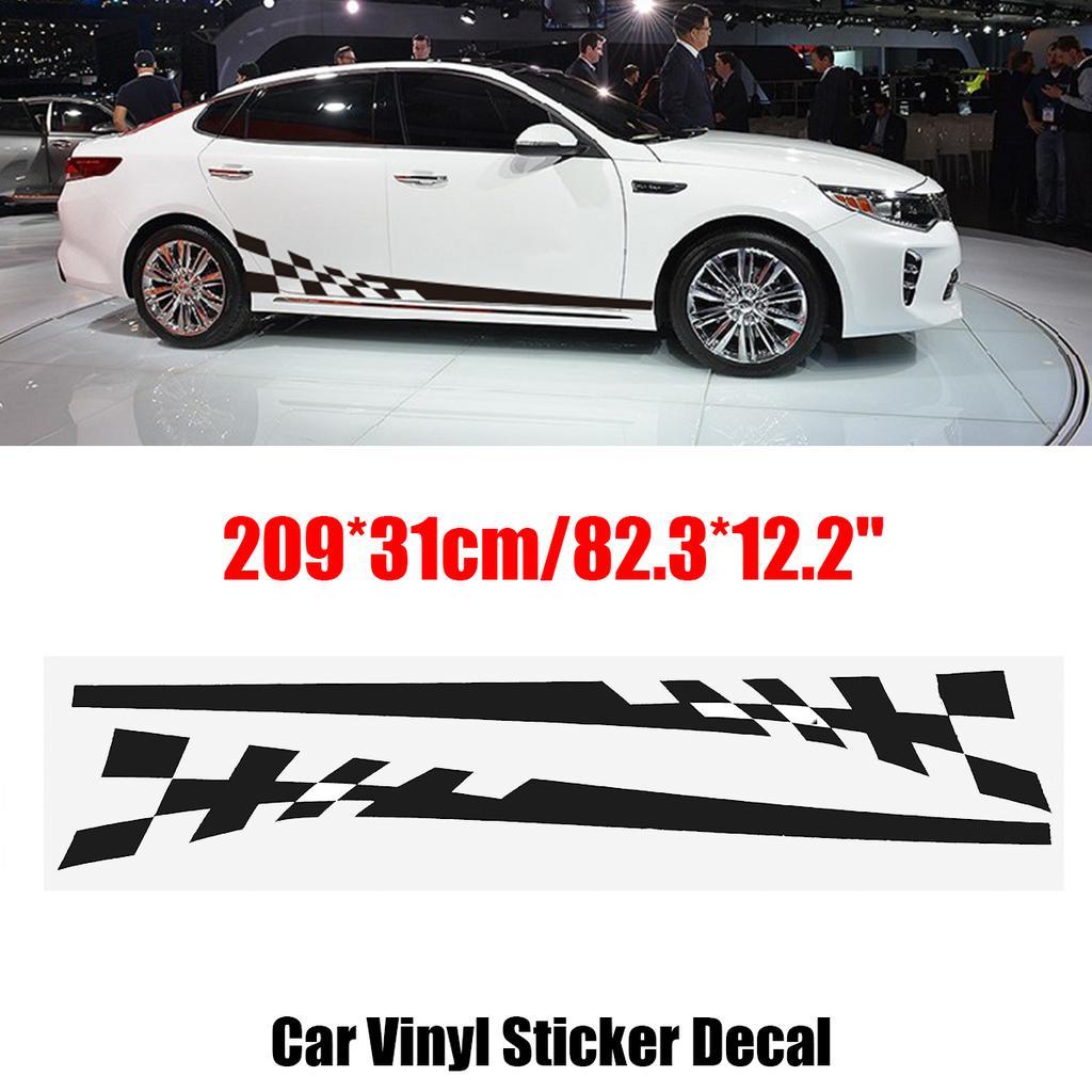 2Pcs Car Racing Lower Door Panel Stripes Decals Autos Body Vinyl Side Stickers