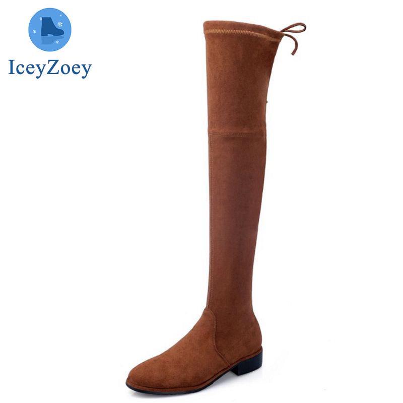 Muslo botas altas 8 cm cuña talón Stovepipe elástica punta