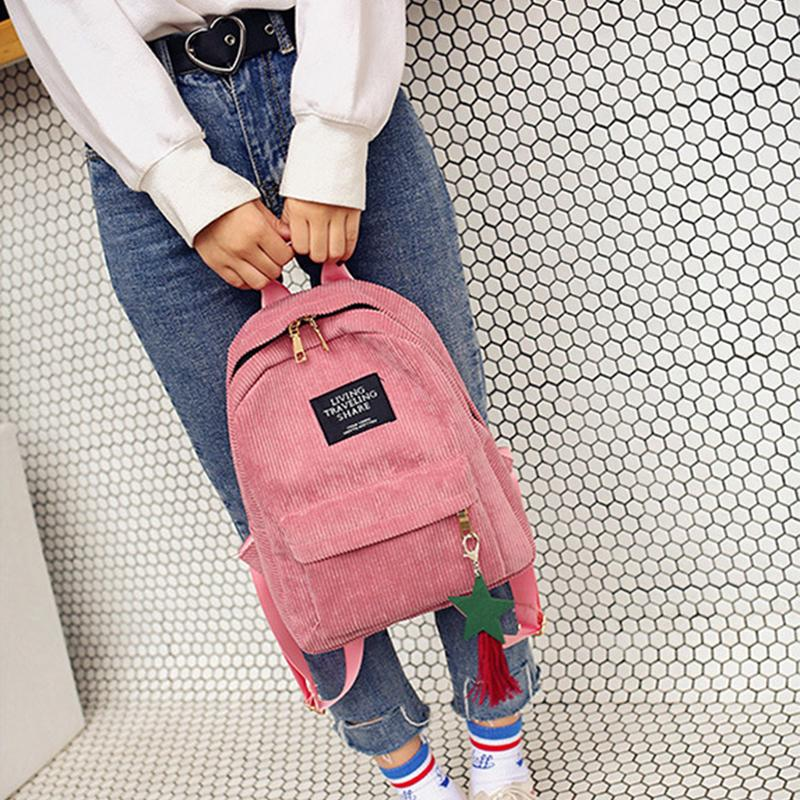 Pink Corduroy bag with tassels