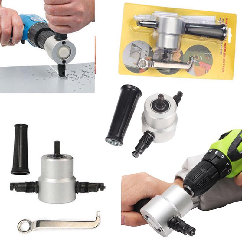 Double Head Sheet Metal Nibbler Hole Saw Cutter Cutting Tool Drill Attachment