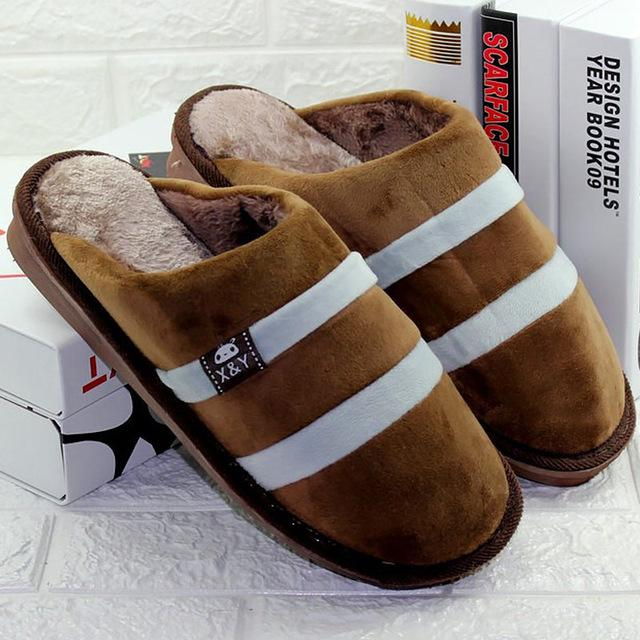 2017 Winter Warm Faux Cow Leather House Slippers for Men Fleece Lined Home Shoes