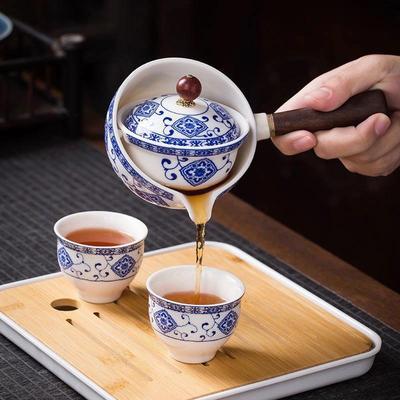 360 ° Teapot Ceramic Single Pot Chinese Household Filter Tea Maker Black Pottery Kung Fu Tea Set Creative Side Handle Pot