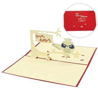 Hot Owl Pop Up Thank You Greeting Happy Birthday Card Children Postcard
