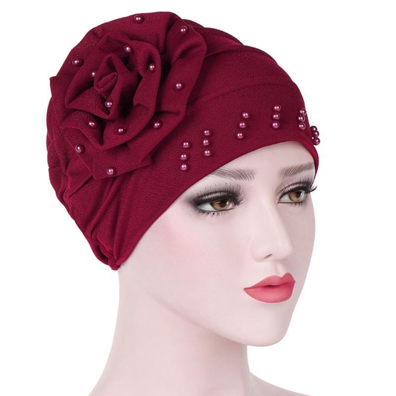 1pc Women Hijab Headwear Hair Loss Head Scarf Crystal Turban Cap Big Flower Muslim Cancer Chemo Hat Hair Accessories Hair Care Novelty & Special Use
