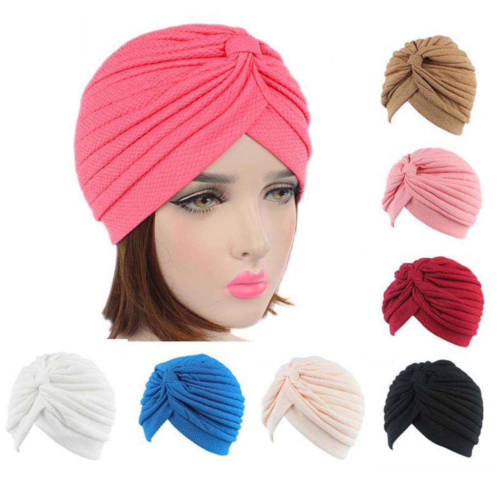Chemo punto bufanda plisada turbante Headwrap tapa cabeza sombrero ... 89891e1a1a6