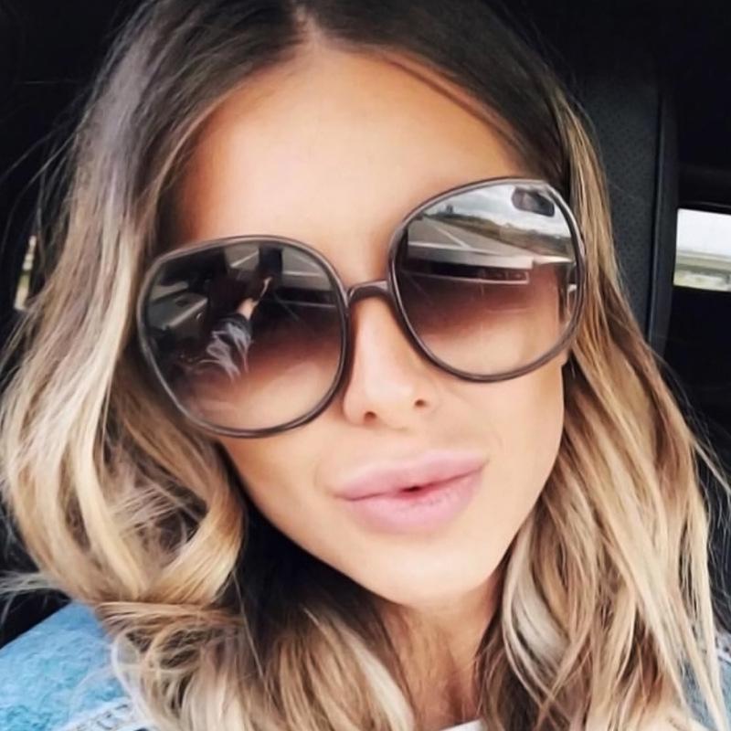 Мода женщин Солнцезащитные очки Большой круглый кадр Ретро очки UV400 Защита очки – купить по низким ценам в интернет-магазине Joom