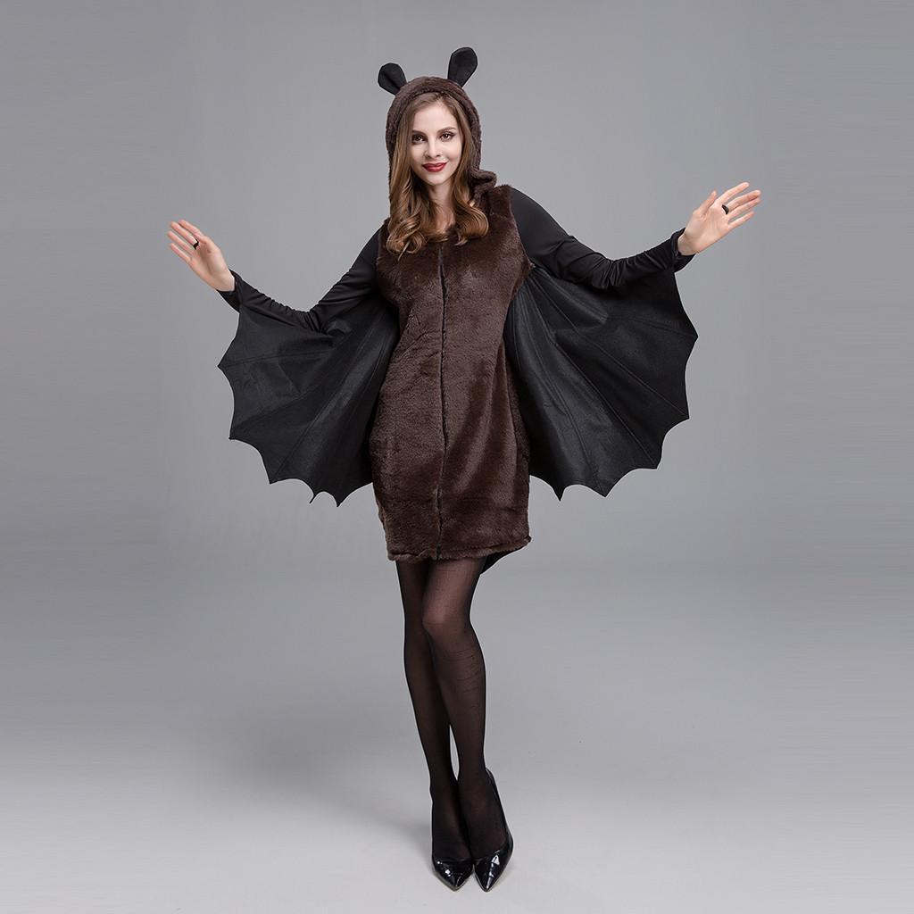 Womens Ladies Evil Queen Vampiress Bat Print Halloween Fancy Dress Costume