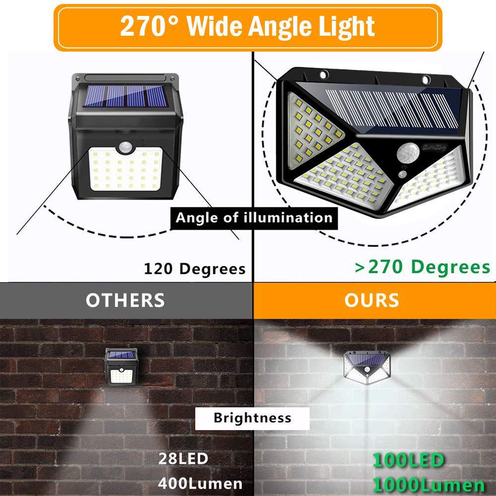 100LED Solar Powered PIR Motion Sensor Wall Lights Outdoor Garden Security Lamps