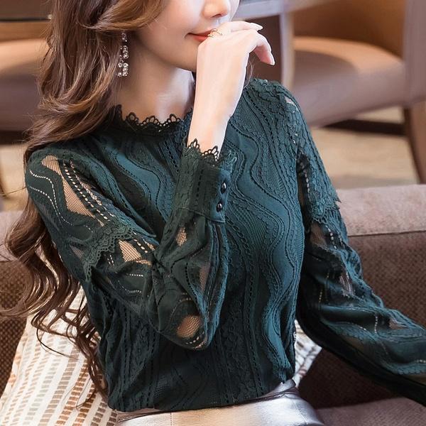 Кружевная блузка с высоким воротом и длинным рукавом – купить по низким ценам в интернет-магазине Joom