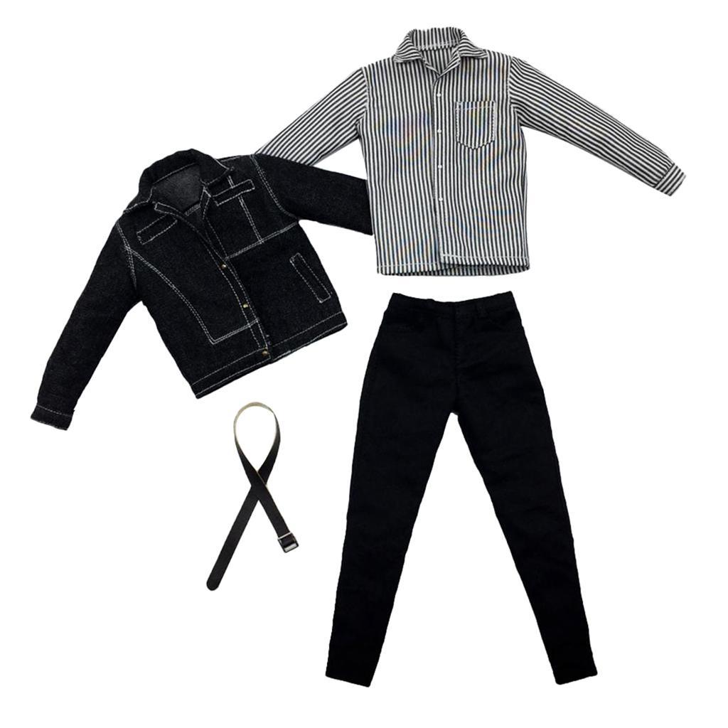 "Belt Shorts Set for 12/"" Male Figure BJD Toy T-Shirt 1:6 Black Casual Wear"