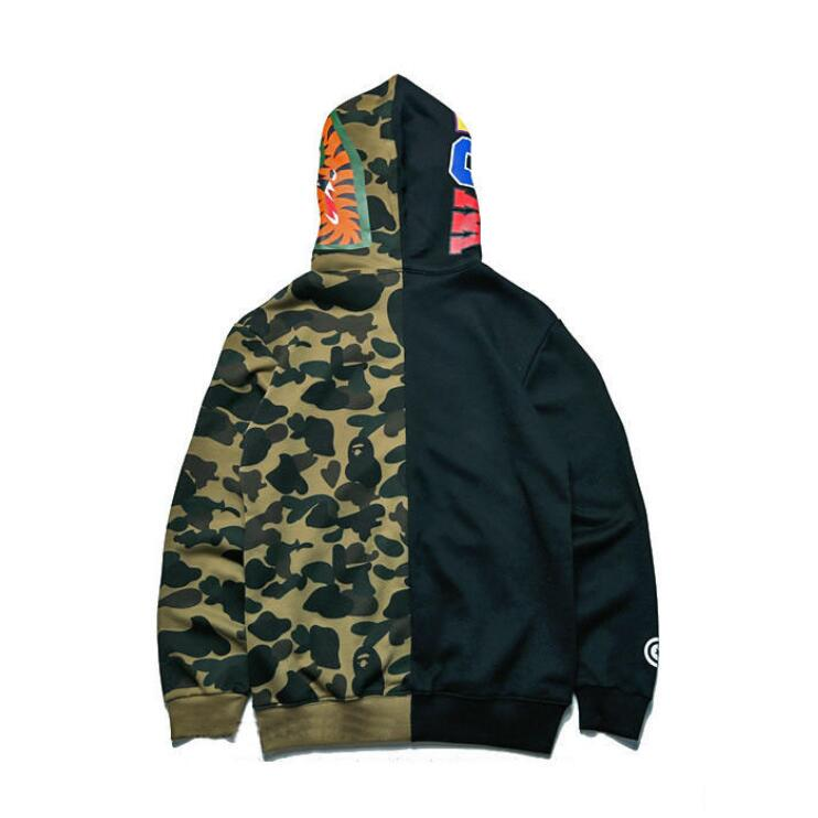 ad0747cf3f28e A Bathing Ape Bape Shark Head Camo Full Zip Color Blocking Pullover Jacket  Hoodie Hooded Sweatshirt-buy at a low prices on Joom e-commerce platform