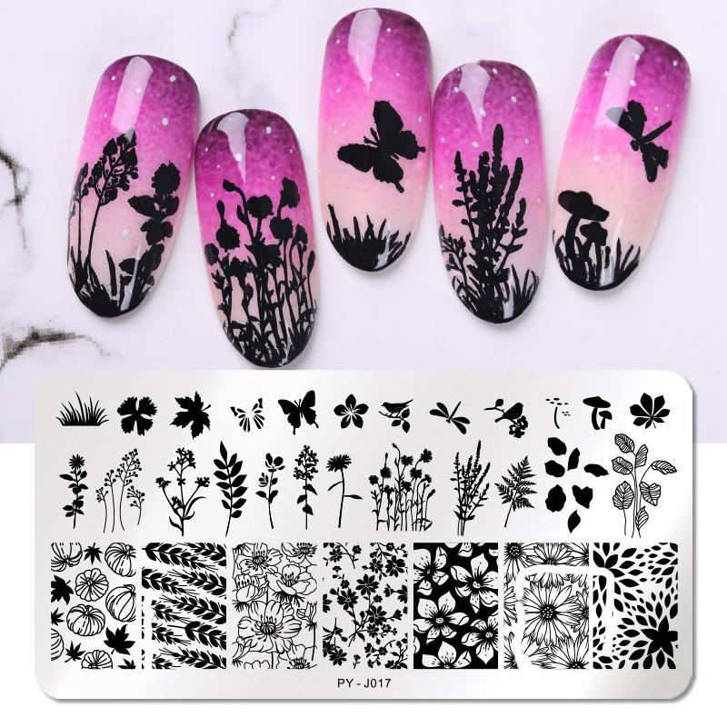 PICT YOU Nail Stamping Plates Flower Series Image Stamp Templates J001