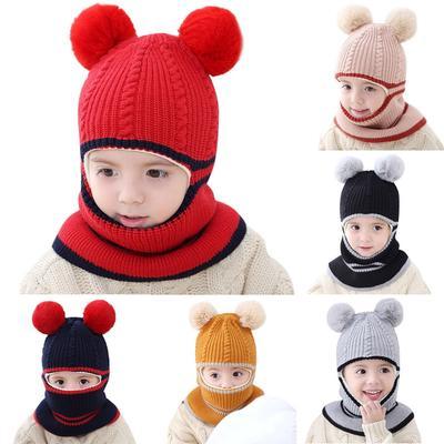 Baby Toddler Boys Girl Warm Knit Crochet Hat Rabbit Bunny Ears Beanie Cap Warmer