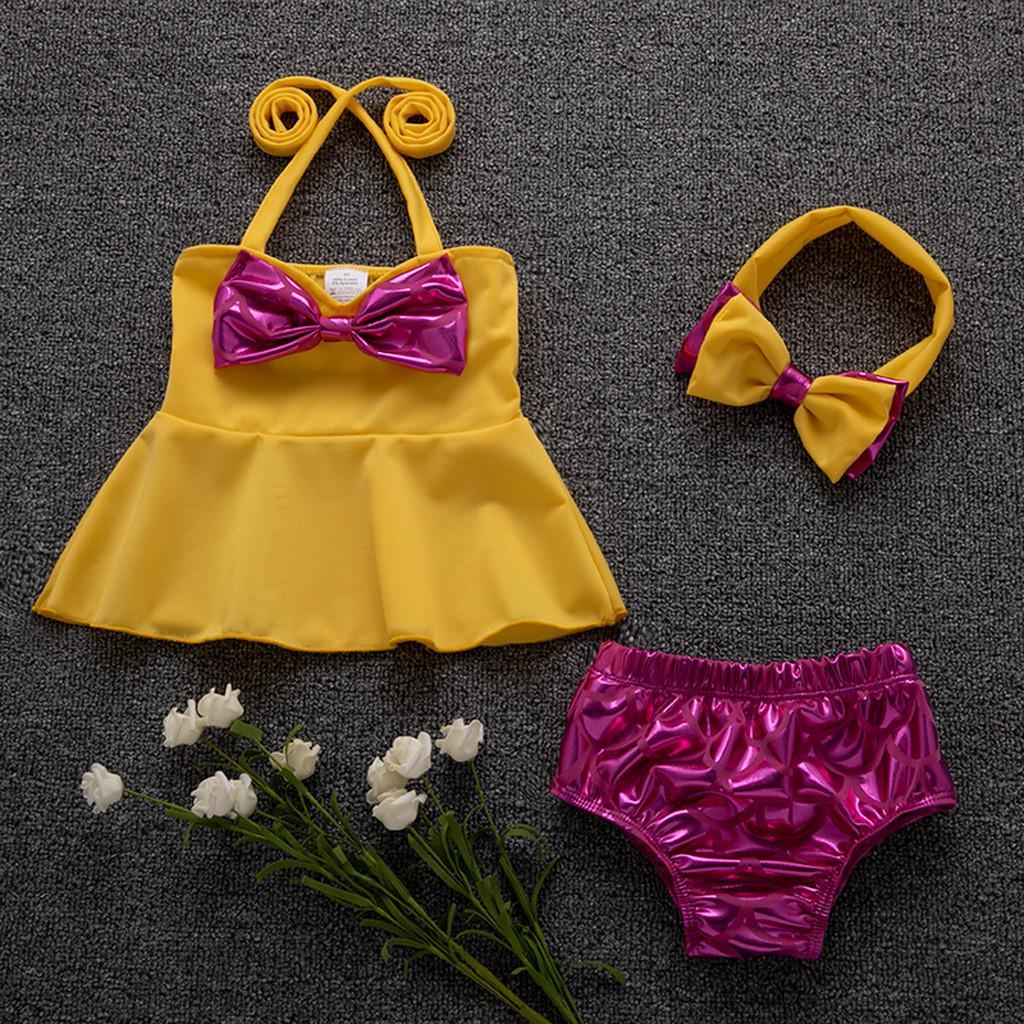 Children Baby Kids Girls Ruffle Suspender Dot Print Bikini Swimwear Swimsuit Set