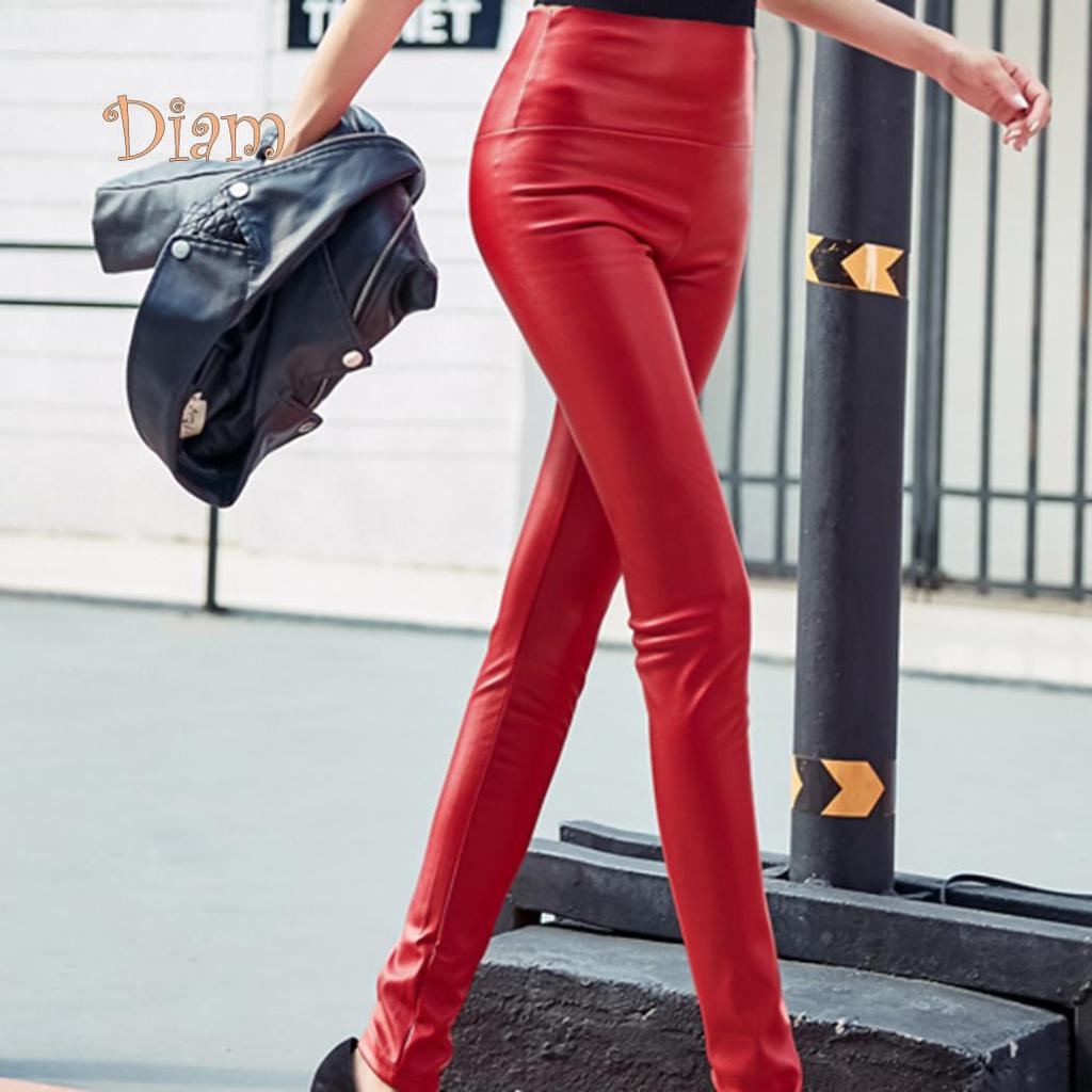 Legging Faux Leather High Waist Stretch Slim Skinny Tight Pencil Pants Women NEW