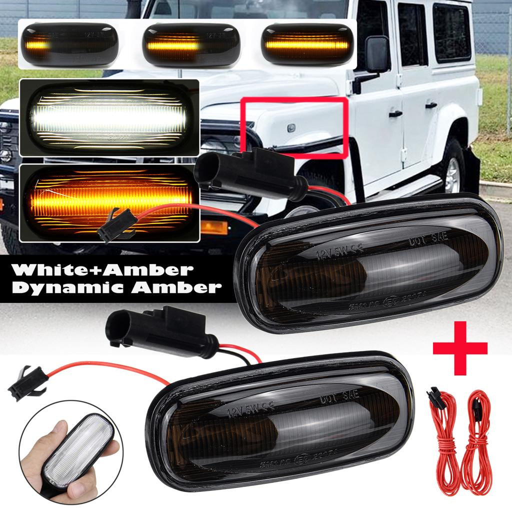 2x Dynamic blinker lens front fender LED side marker lights repeaters Land Rover