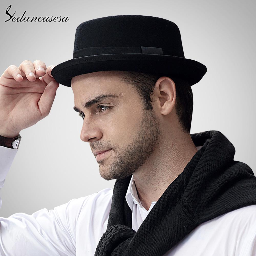 b9163581e0 Sedancasase Fashion 100% Australia for Men's Fedora Hat with Pork Pie Wool  Classic Church Felt-buy at a low prices on Joom e-commerce platform