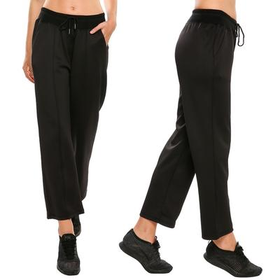 Las mujeres de moda los pantalones de cordón recto medio de talle deportivo  Casual Ygoa 814e75100429