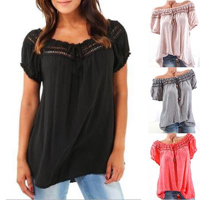 66f8f3366ef1ee Sexy Women Lace Patchwork Hollow Short Sleeve Cotton Blouse Loose Tops