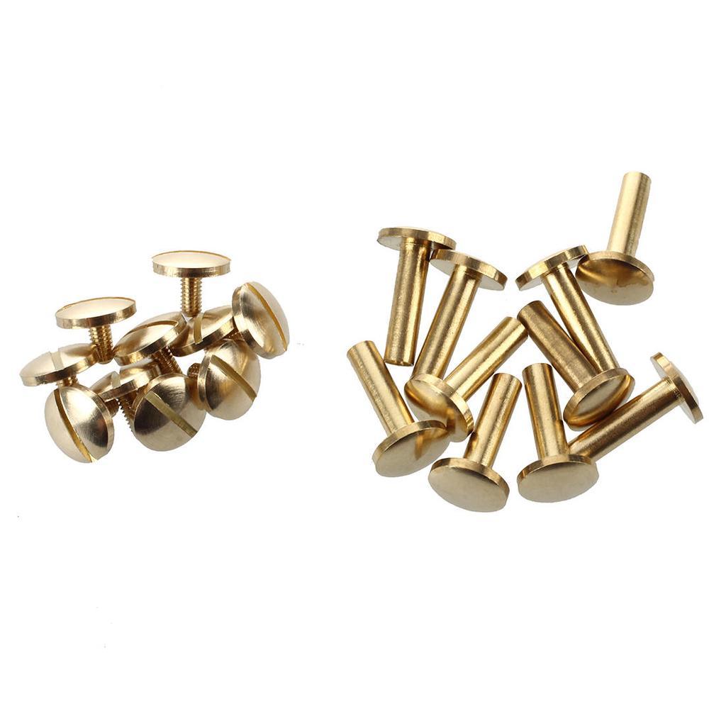10x Messingknopf Nieten Screwback für Leder Craft Gürtel Handtasche