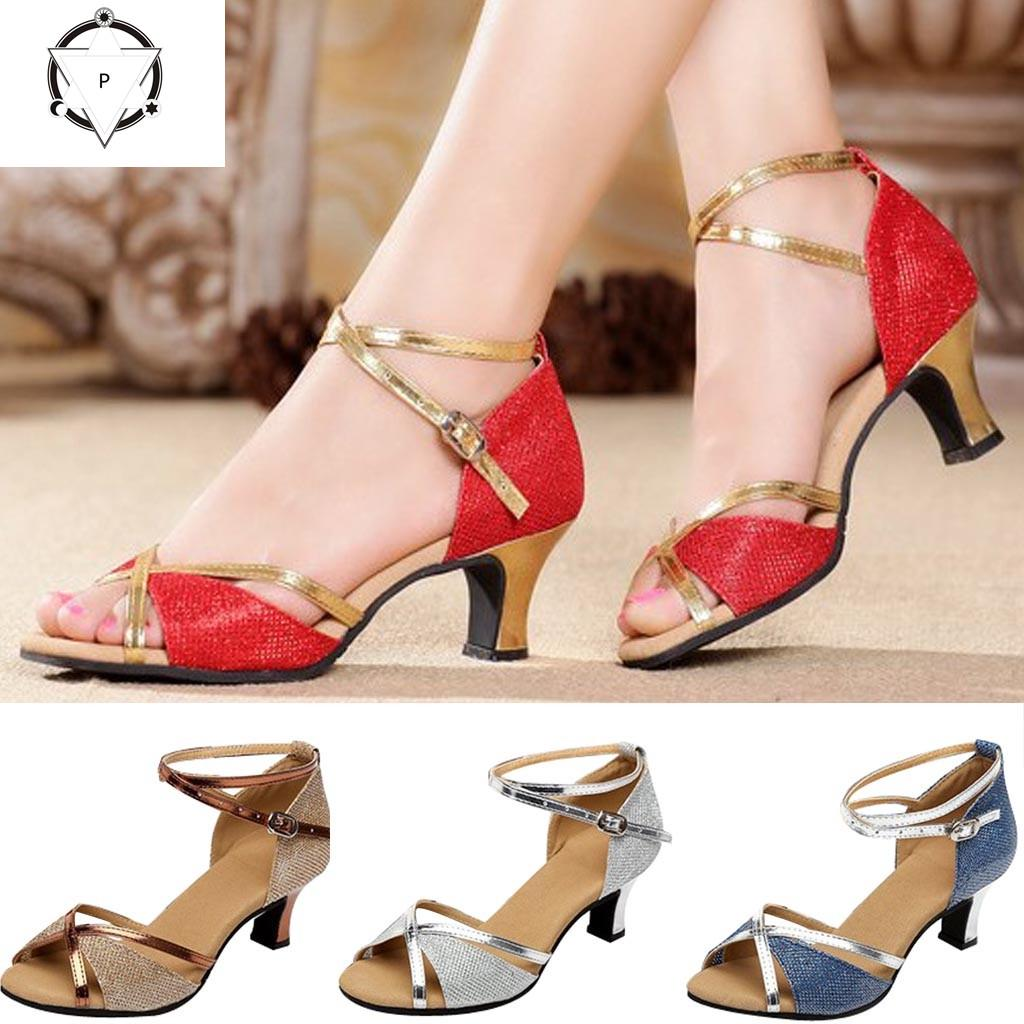 Women Dance Shoes Girls Peep Toe Latin Salsa Dance Shoes Ballroom Waltz Dance Shoes Cross Strap Spike Heel Dancing Shoes for Women /& Girls