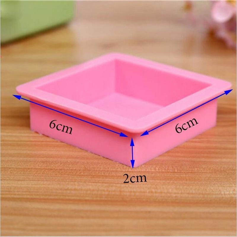 哈每 手工皂模具 内径6*6*2cm方块直边方砖模 硅胶蛋糕模具