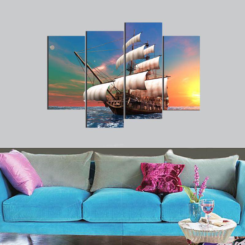 Pintura 4 piezas lienzo sin marco arte velero hermoso cielo pared ...