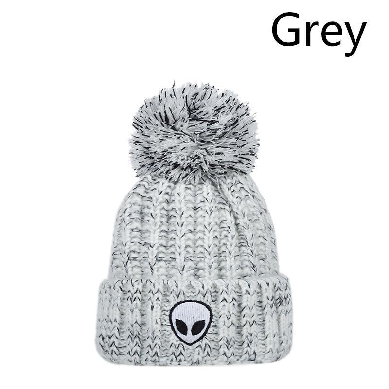Las mujeres Alien patrón sombrero niña lana bola tapa invierno ...