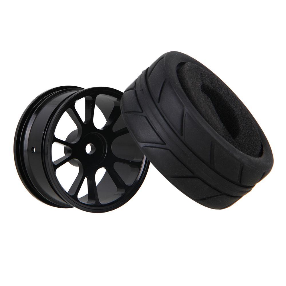 4x RC1 10 On-Road-Auto-Fisch-Muster 65mm Rubber Tire Grau Legierung 7-Speichen