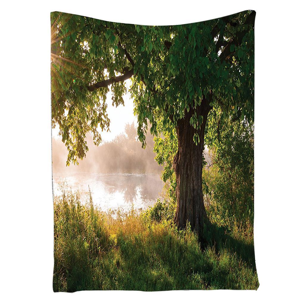 Orman Goblen Ağaç Meşe Dekor Manzara Sisli Sahne Ve Akışı
