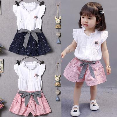 Toddler Baby Girls Sleeveless Geometry Print Vest Tops+Shorts+Hat Outfits Sets
