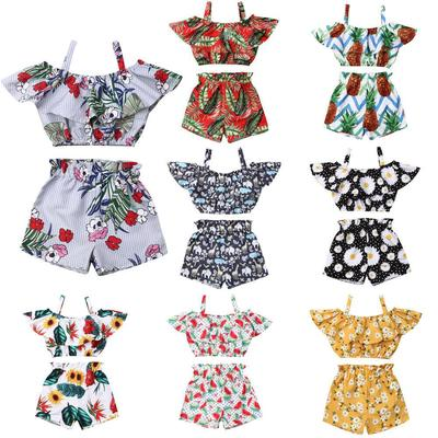 2Pcs Toddler Kids Baby Girl Leopard Outfits Halter Dress Top+Ripped Denim Shorts Pants Summer Clothes Set