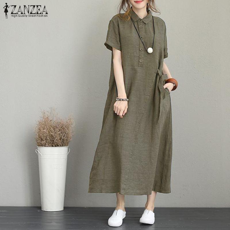 ZANZEA Women Long Shirt Dress Floral Print Loose Summer Sundress Mini Dress Plus