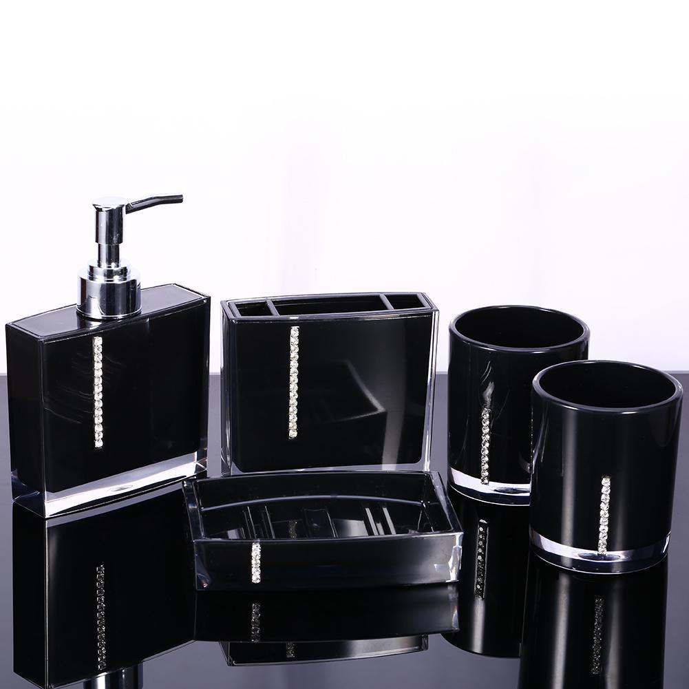 Bathroom Wash 5 Pcs Set Acrylic, Bathroom Soap Dispenser Set With Tray