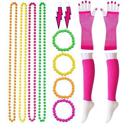Party Fancy Dress Tutu Gloves Neon Fishnet Gloves CRAZY CHICK New Ladies Girls Short Fishnet Gloves Assorted Colours Fingerless Gloves