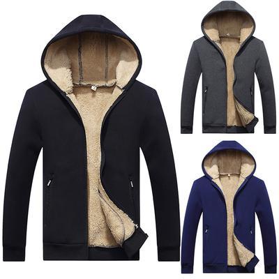 Sebaby Mens Thickened Baseball Slim Fit Hooded Zips Fall Winter Sweatshirts
