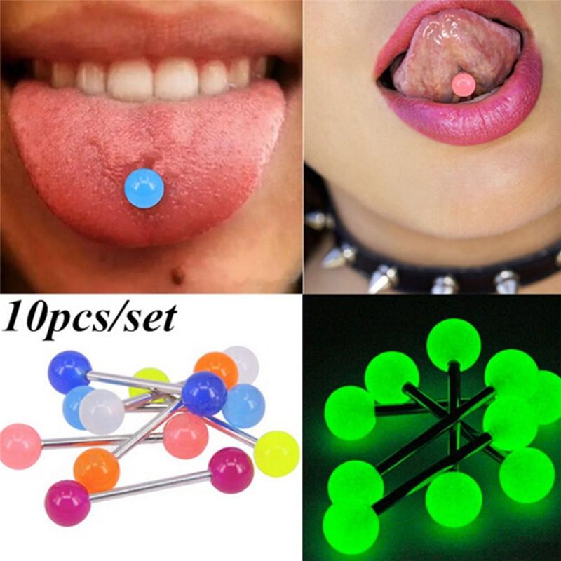 Stainless Steel 14G Bar Heart Love Lip Labret Tongue Ring Barbell Body Piercing