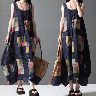 5d9dc72bcc1 Мода женщин мода рукавов жилета O-шеи платье случайный нерегулярных сарафан  повседневные платья MAG