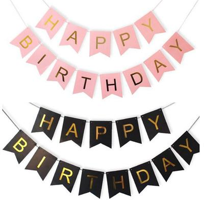 Happy Birthday Paper Bunting Letter Flags Kids Birthday Party Banner Photo Booth Props