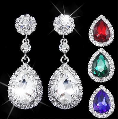 91195bdfffaa 5 colores moda cristal Pendientes colgar grande plateado piedra flor de  oreja