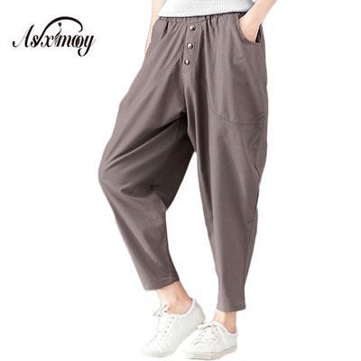 163292ad82482 Wide Size Casual Loose Vintage Cotton Linen Harem Pants Trousers Women  Elastic High Waist Plus Leg