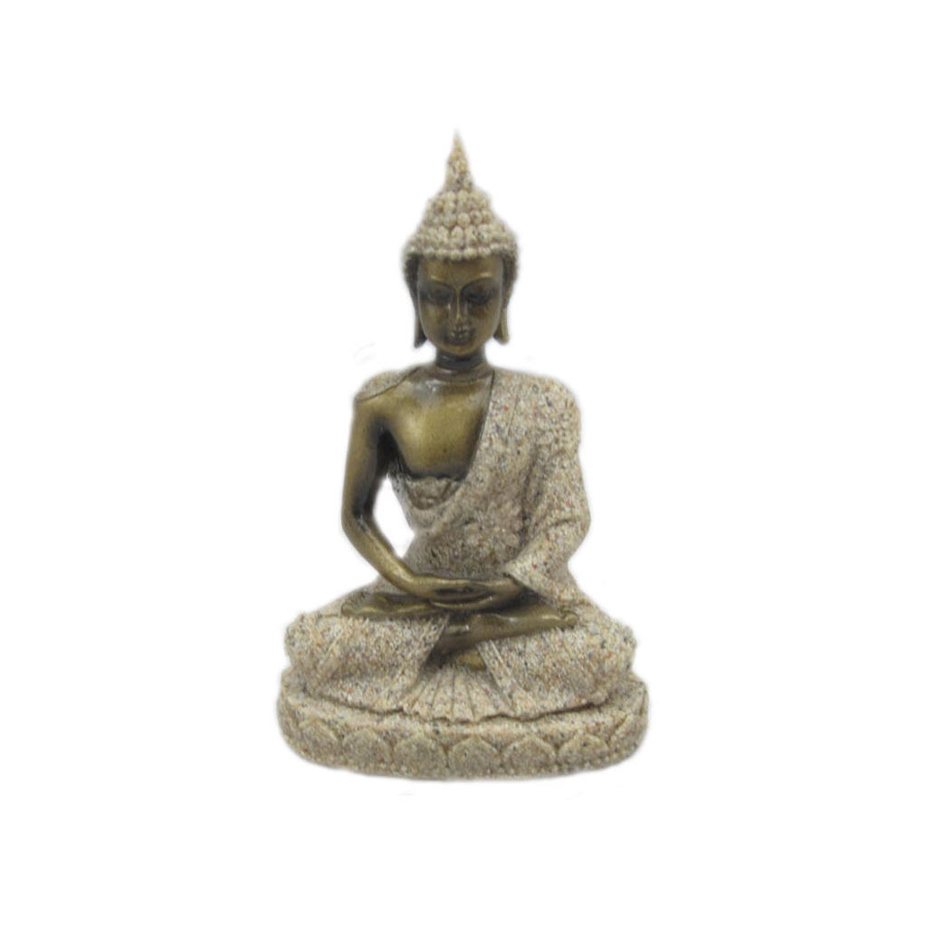 Soft Gold Sitting Buddha Meditating Figurine Statue FENG SHUI