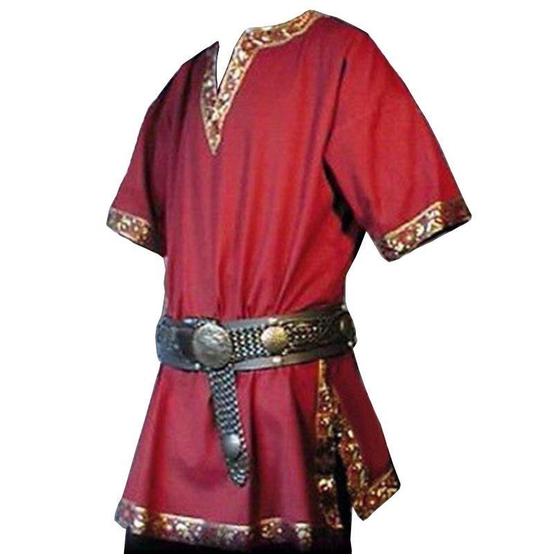 Renaissance Men Medieval Knight Shirts Costume Halloween Pirate Tunic Brocade