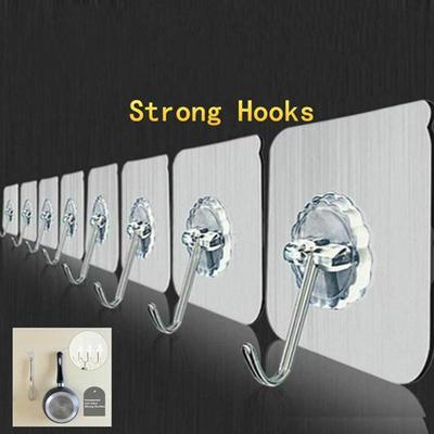 8pcs Adhesive Wall Hooks Heavy Duty Sticky Transparent Bath Towel Hangers